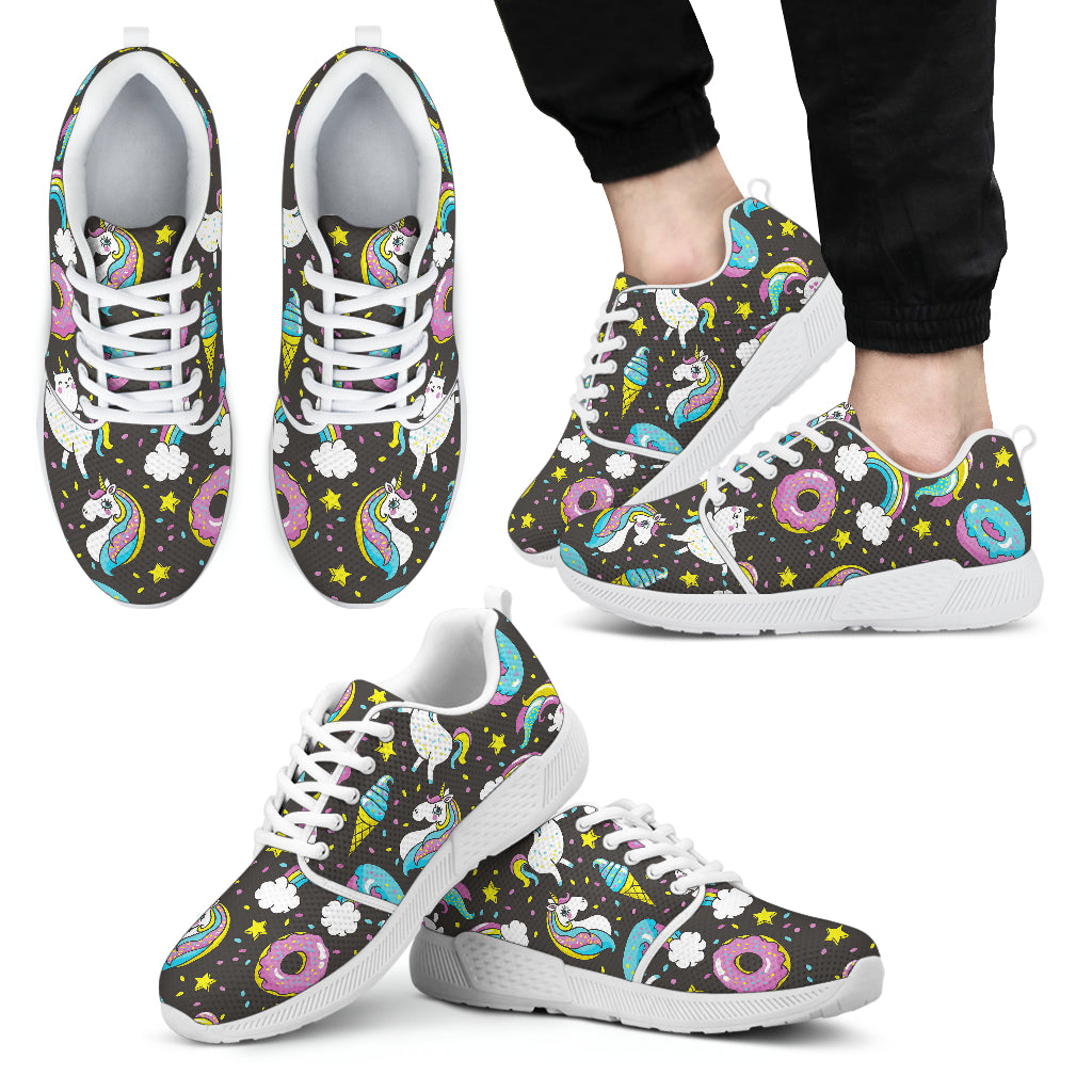 Girly Unicorn Donut Pattern Print Men's Athletic Shoes
