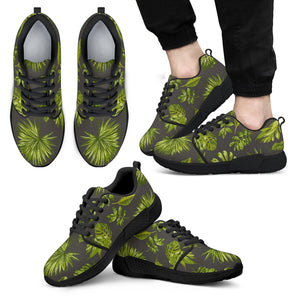 Dark Tropical Leaf Pattern Print Men's Athletic Shoes