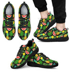 Black Tropical Pineapple Pattern Print Men's Athletic Shoes