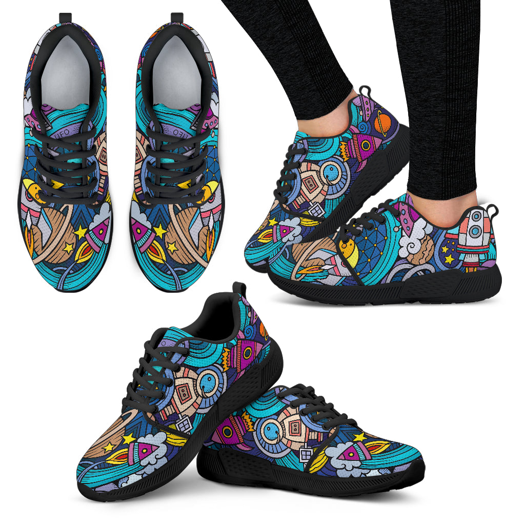 Abstract Cartoon Galaxy Space Print Women's Athletic Shoes