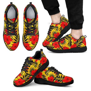 Hawaiian Hibiscus Flowers Pattern Print Men's Athletic Shoes