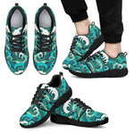 Deep Sea Wave Surfing Pattern Print Men's Athletic Shoes