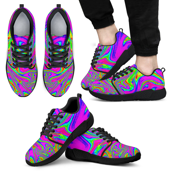 Abstract Psychedelic Liquid Trippy Print Men's Athletic Shoes