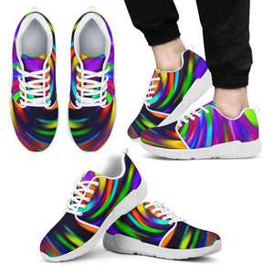 Colorful Spiral Trippy Print Men's Athletic Shoes
