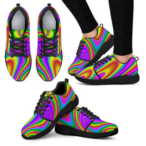Abstract Neon Trippy Print Women's Athletic Shoes