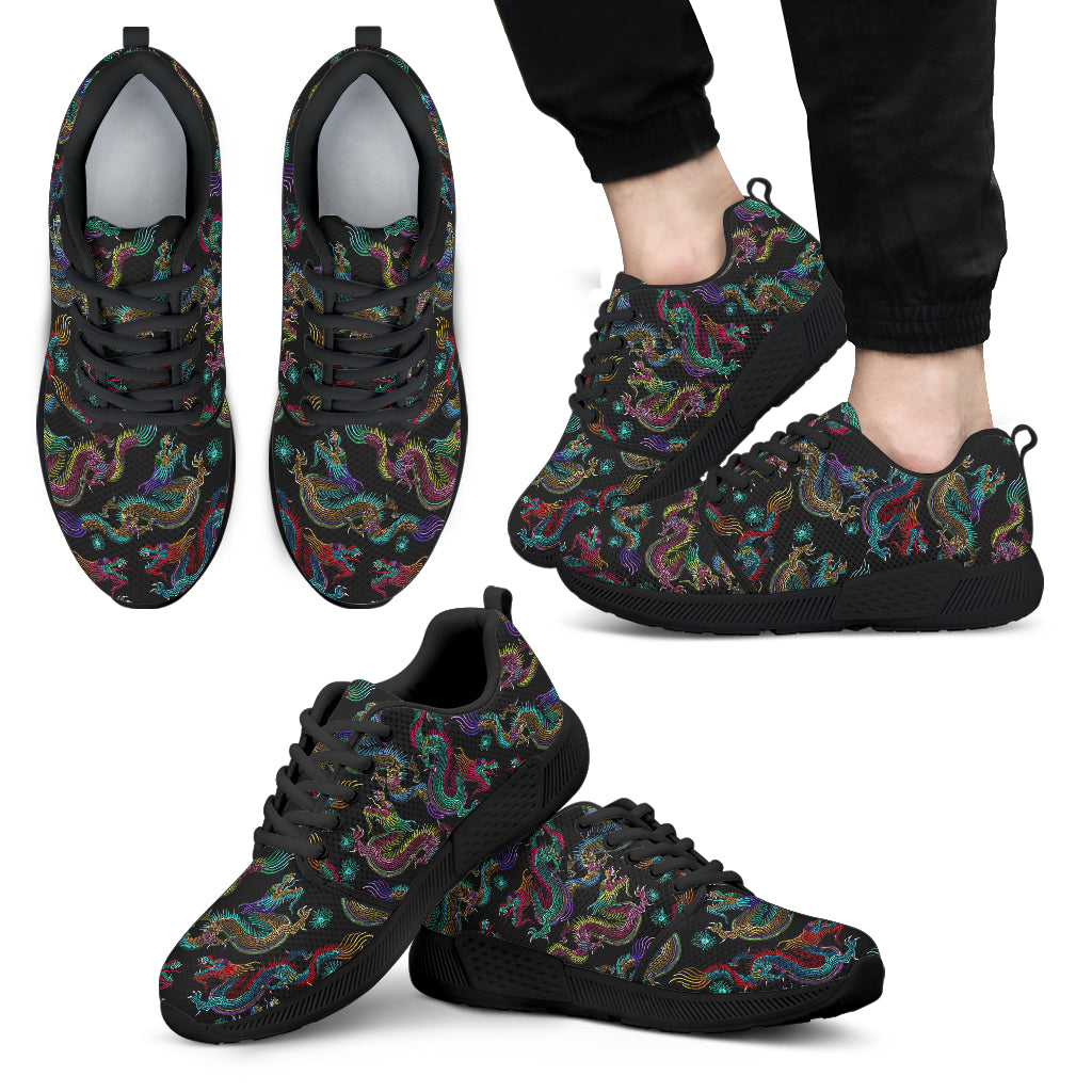 Chinese Dragon Pattern Print Men's Athletic Shoes