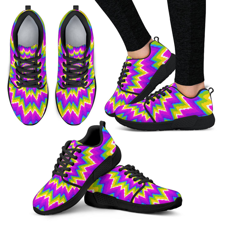 Abstract Spiral Moving Optical Illusion Women's Athletic Shoes
