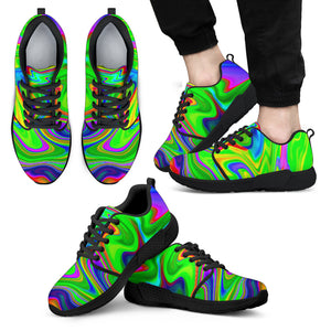 Green Abstract Liquid Trippy Print Men's Athletic Shoes