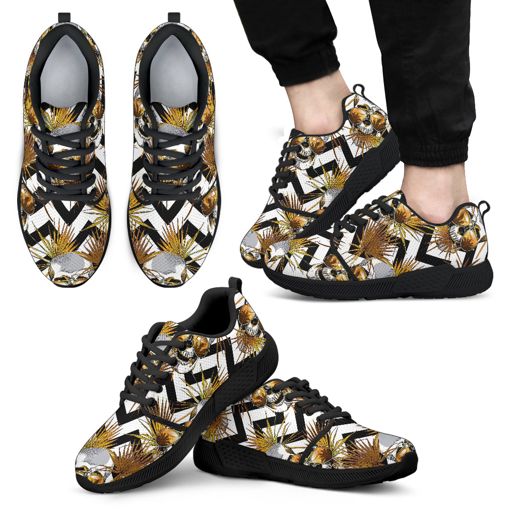 Gold Tropical Skull Pattern Print Men's Athletic Shoes