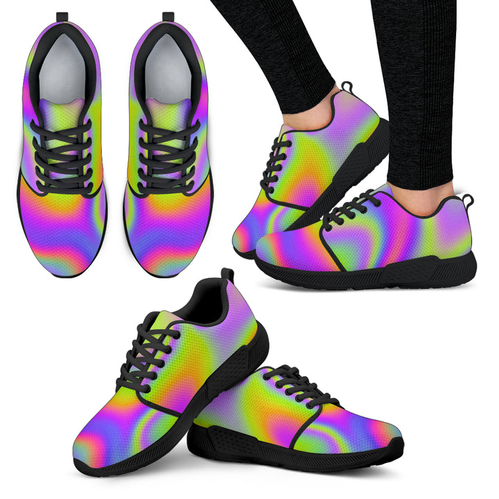 Abstract Holographic Trippy Print Women's Athletic Shoes