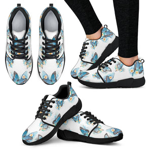 Blossom Blue Butterfly Pattern Print Women's Athletic Shoes