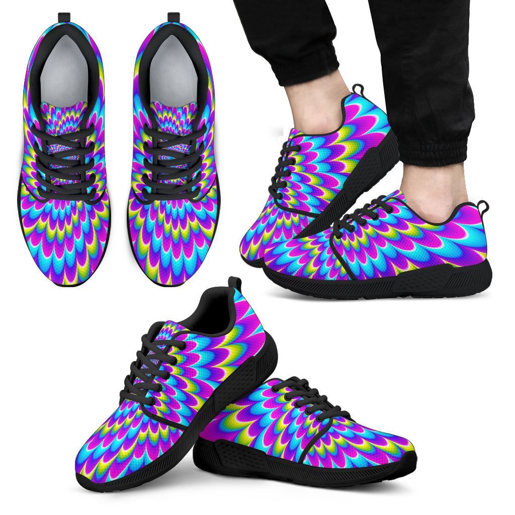 Abstract Dizzy Moving Optical Illusion Men's Athletic Shoes