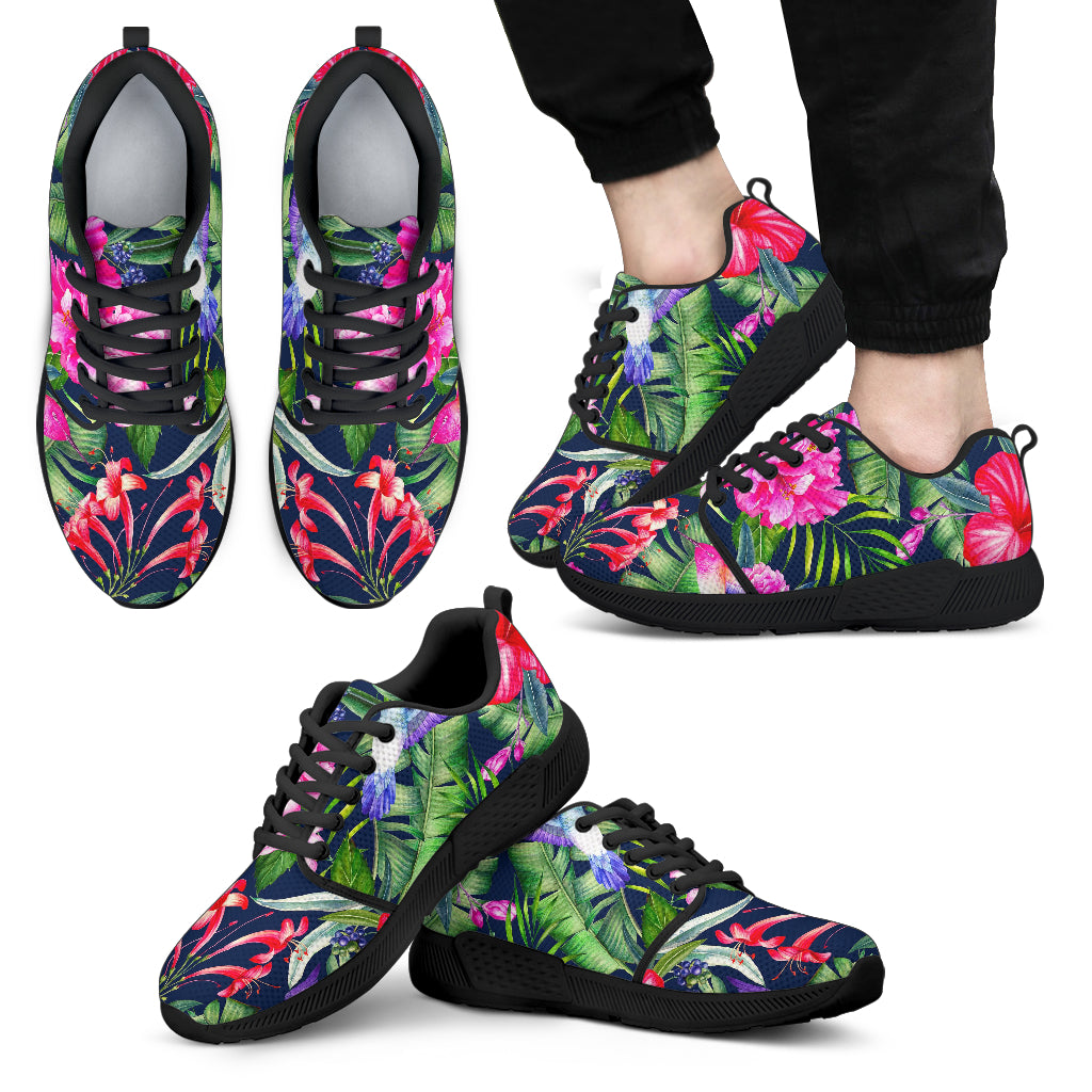 Hawaiian Tropical Birds Pattern Print Men's Athletic Shoes
