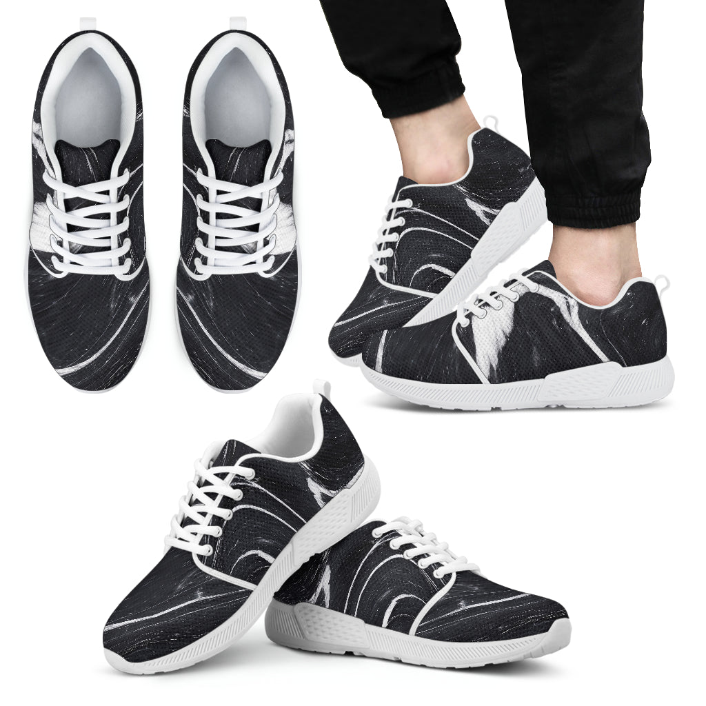 Black White Liquid Marble Print Men's Athletic Shoes