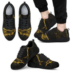 Black Gold Marble Print Men's Athletic Shoes