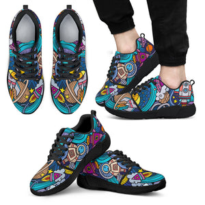 Abstract Cartoon Galaxy Space Print Men's Athletic Shoes