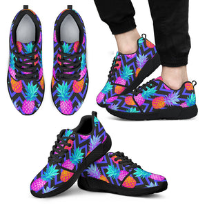 Neon EDM Zig Zag Pineapple Pattern Print Men's Athletic Shoes