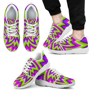 Green Big Bang Moving Optical Illusion Men's Athletic Shoes