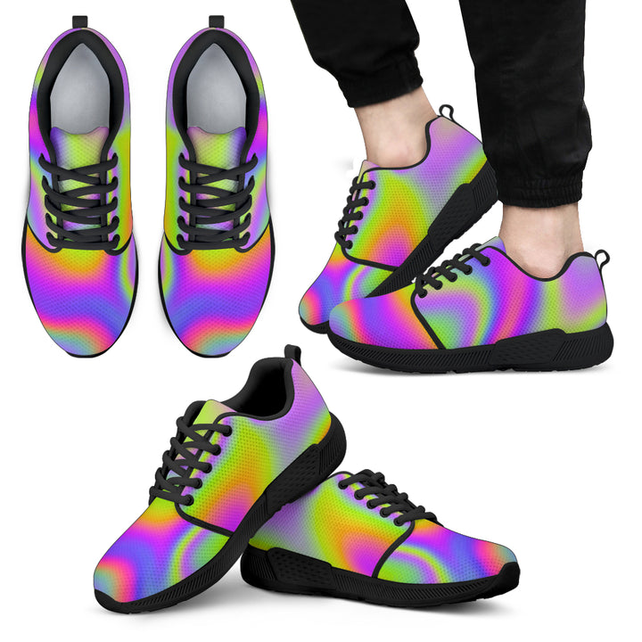 Abstract Holographic Trippy Print Men's Athletic Shoes