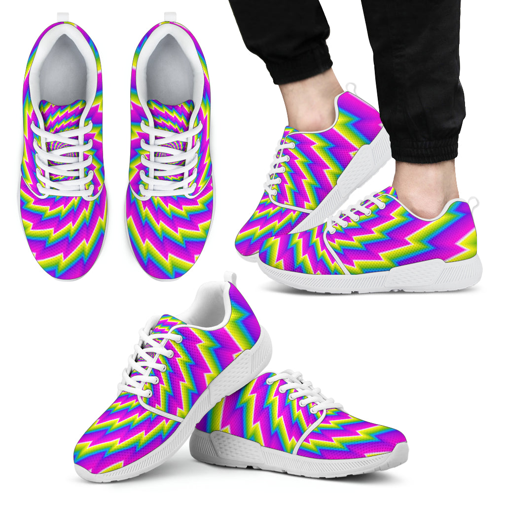 Abstract Twisted Moving Optical Illusion Men's Athletic Shoes
