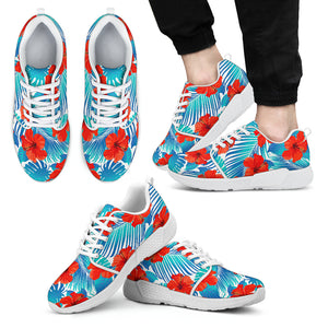 Blue Tropical Hibiscus Pattern Print Men's Athletic Shoes