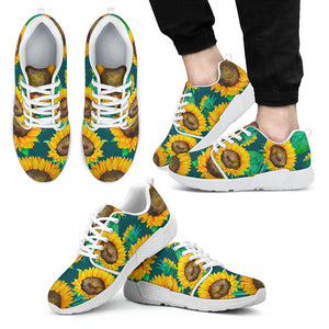Green Watercolor Sunflower Pattern Print Men's Athletic Shoes