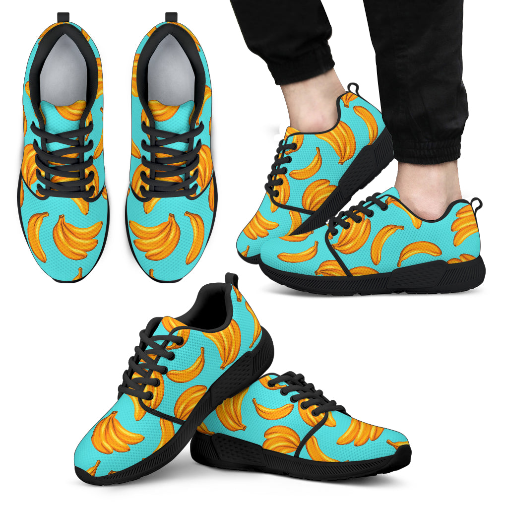 Blue Banana Pattern Print Men's Athletic Shoes