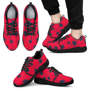 Black Red Palm Tree Pattern Print Men's Athletic Shoes