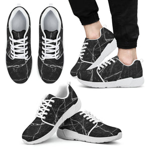Black White Grunge Marble Print Men's Athletic Shoes