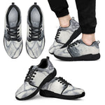Dark Grey White Marble Print Men's Athletic Shoes