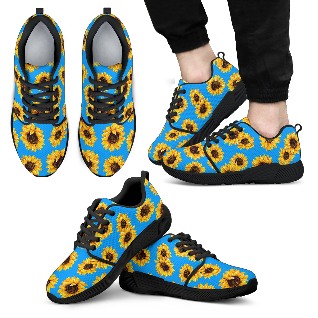 Blue Sunflower Pattern Print Men's Athletic Shoes