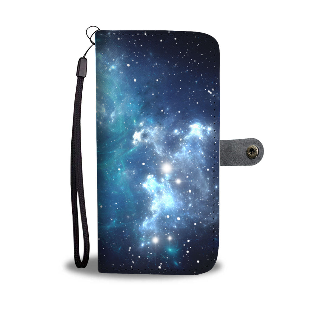 Blue Light Sparkle Galaxy Space Print Wallet Phone Case