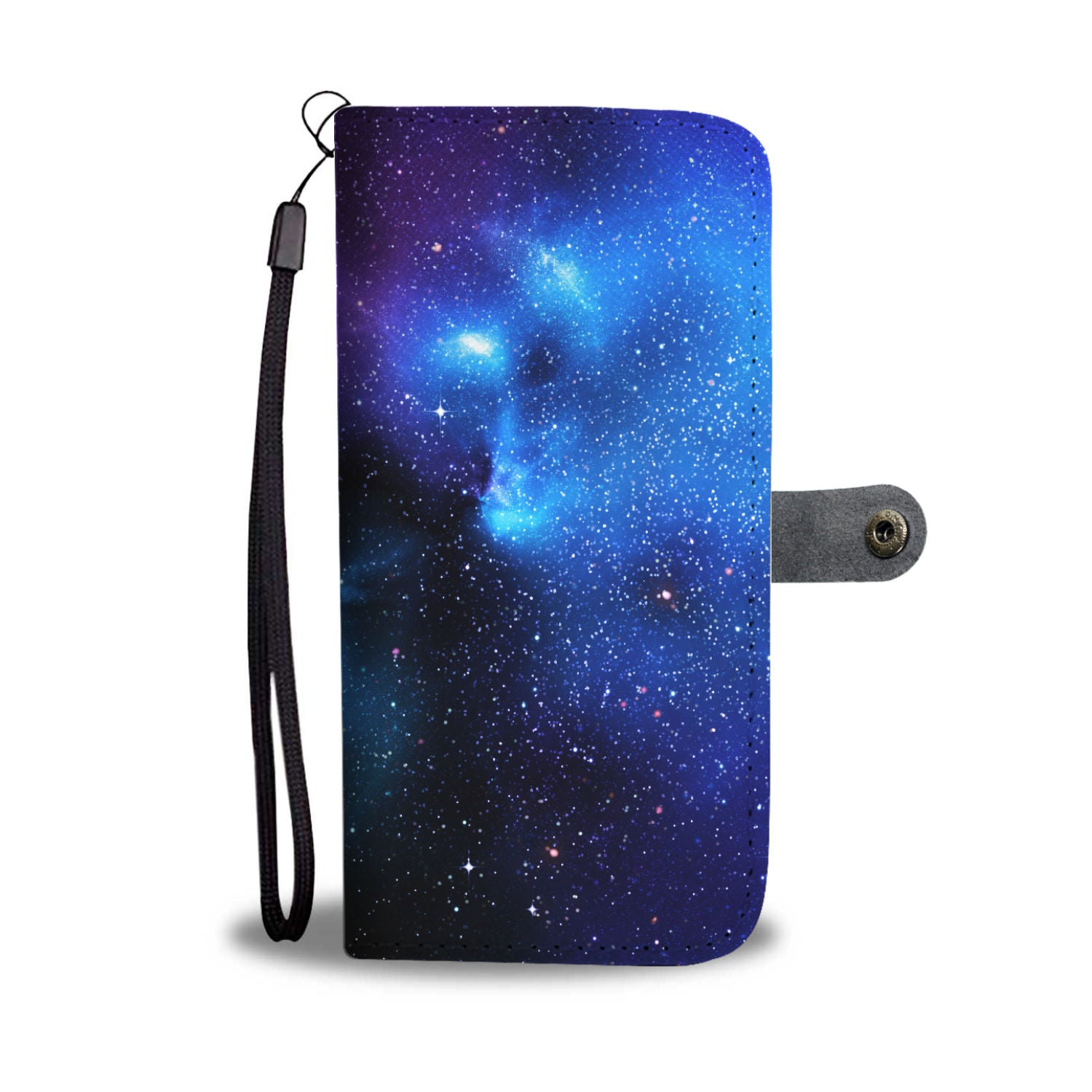 Dark Purple Blue Galaxy Space Print Wallet Phone Case