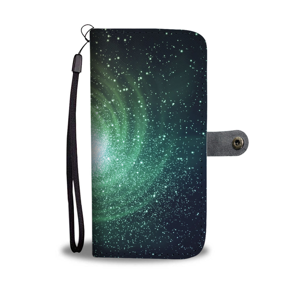 Bright Green Spiral Galaxy Space Print Wallet Phone Case