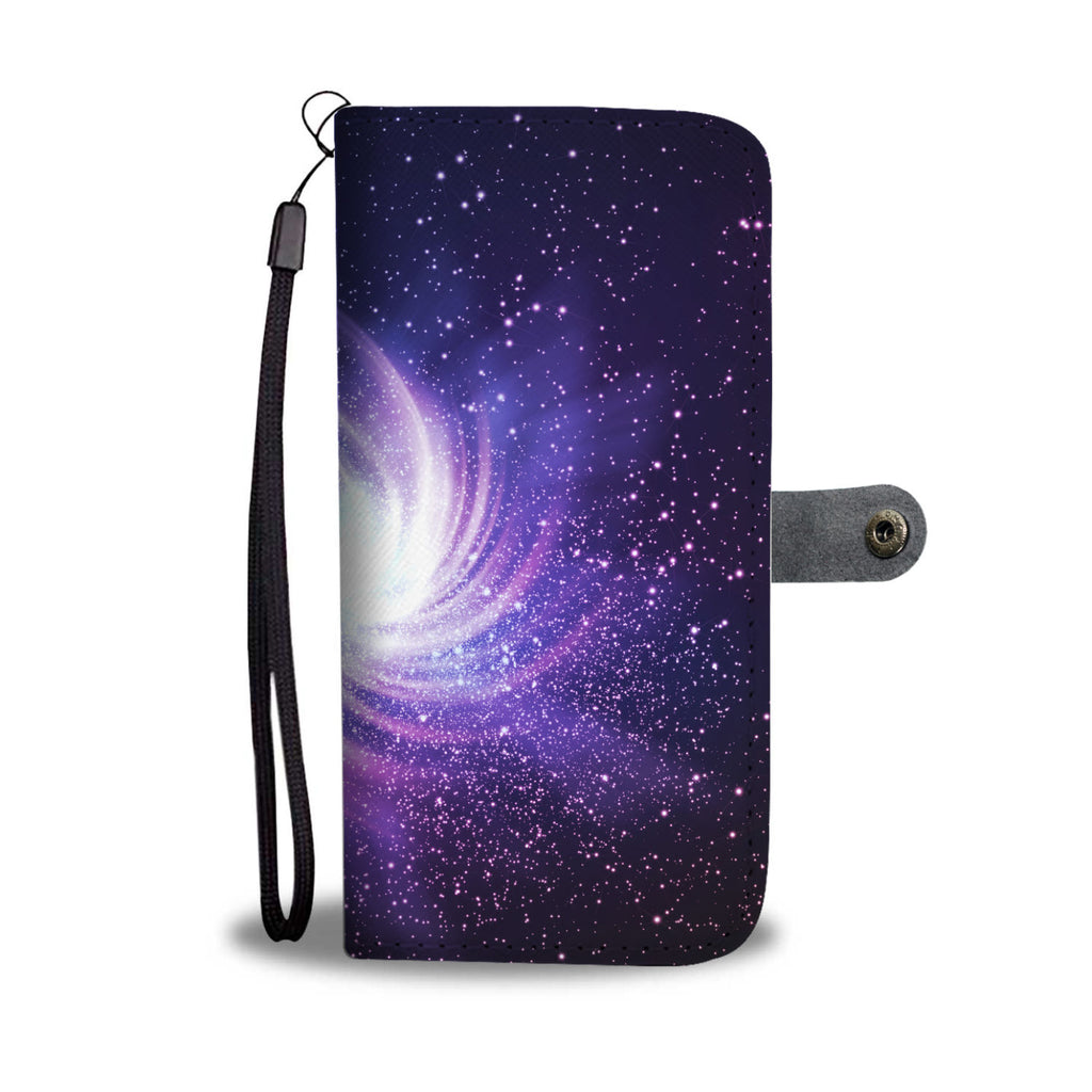 Blue Purple Spiral Galaxy Space Print Wallet Phone Case
