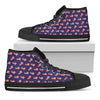 4th of July American Flag Pattern Print Black High Top Shoes