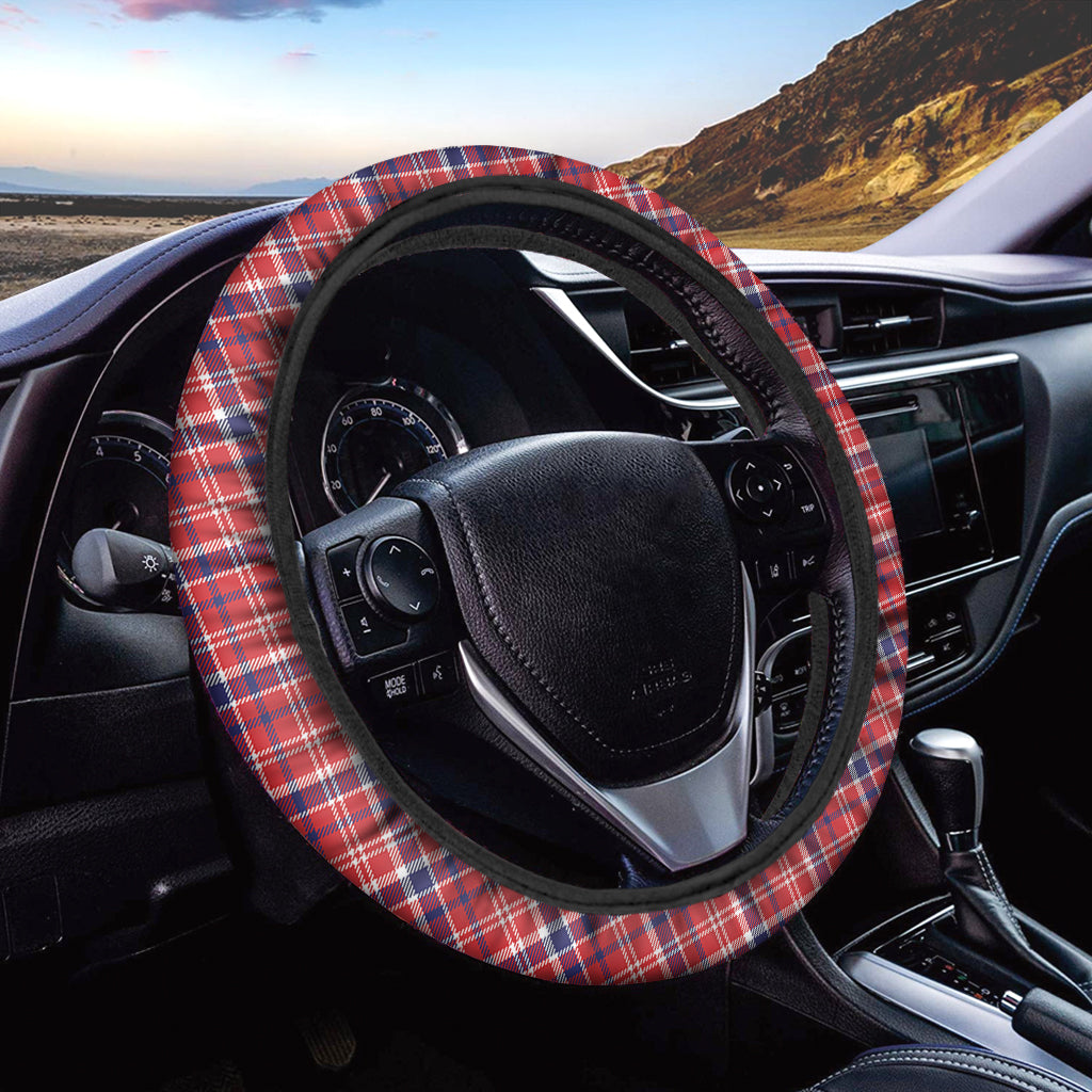 4th of July American Plaid Print Car Steering Wheel Cover