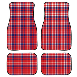 4th of July American Plaid Print Front and Back Car Floor Mats