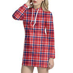 4th of July American Plaid Print Hoodie Dress