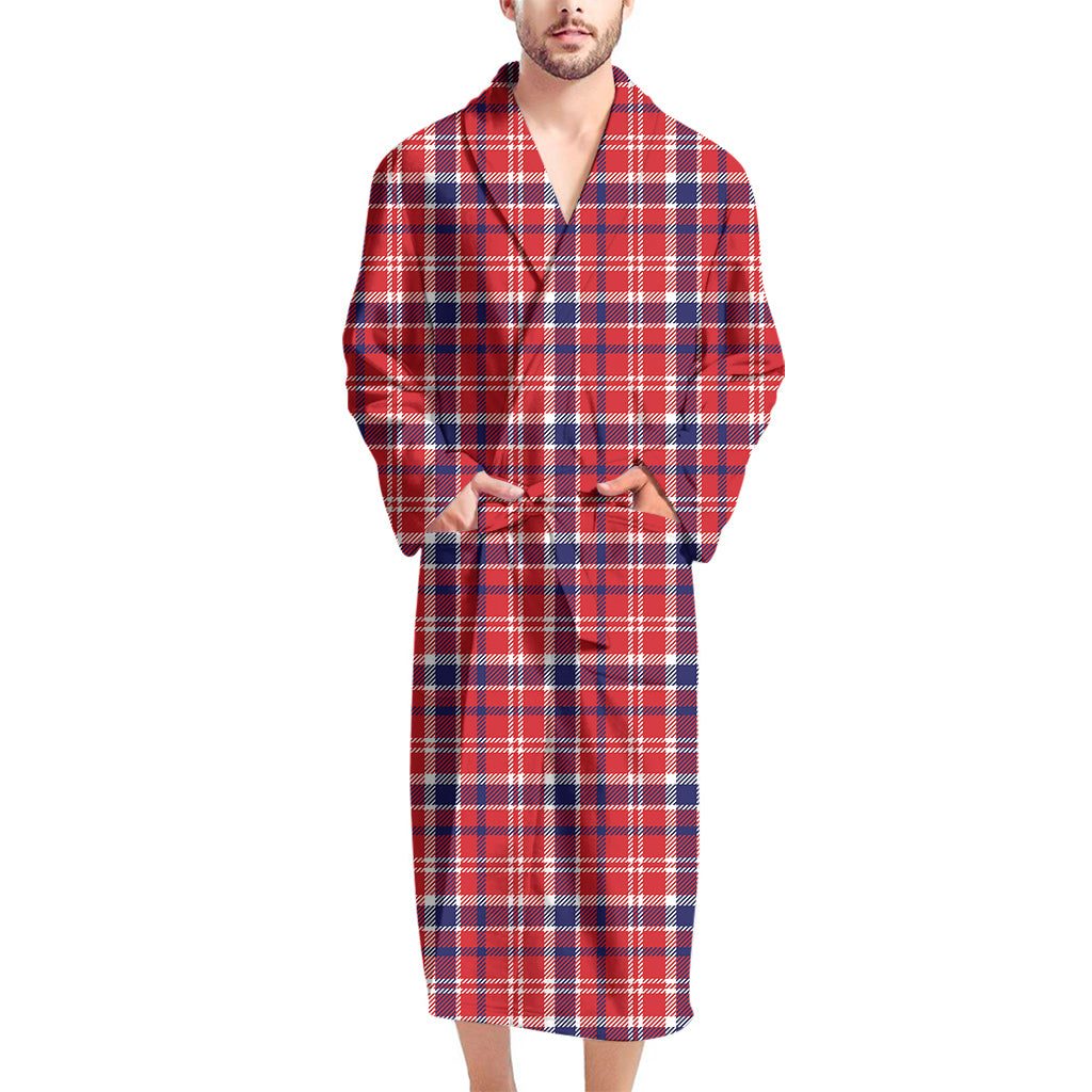 4th of July American Plaid Print Men's Bathrobe