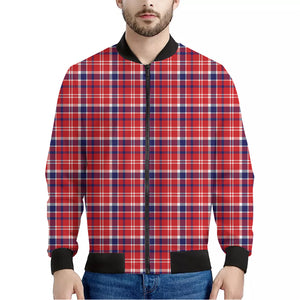 4th of July American Plaid Print Men's Bomber Jacket