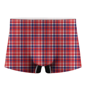 4th of July American Plaid Print Men's Boxer Briefs