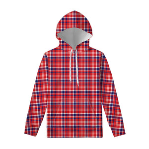 4th of July American Plaid Print Pullover Hoodie