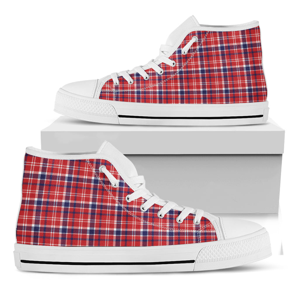 4th of July American Plaid Print White High Top Shoes
