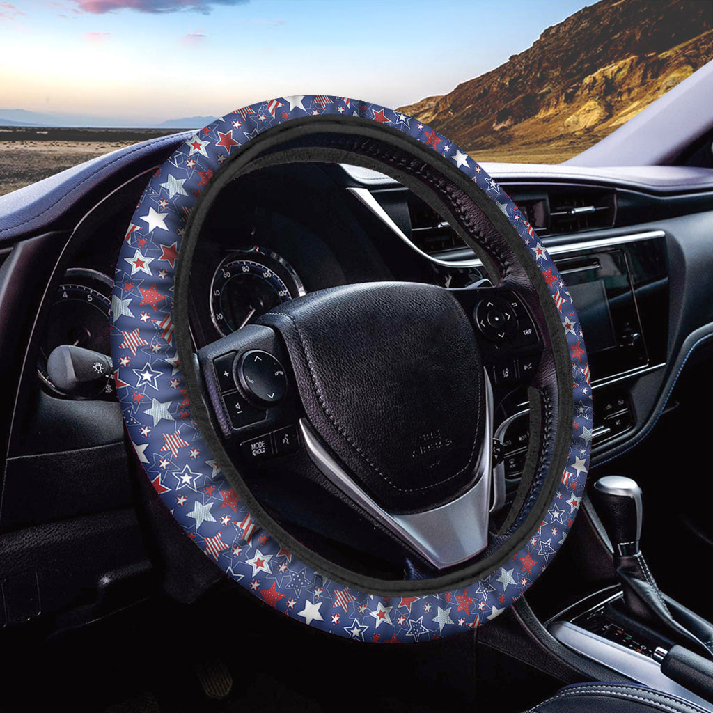 4th of July American Star Pattern Print Car Steering Wheel Cover