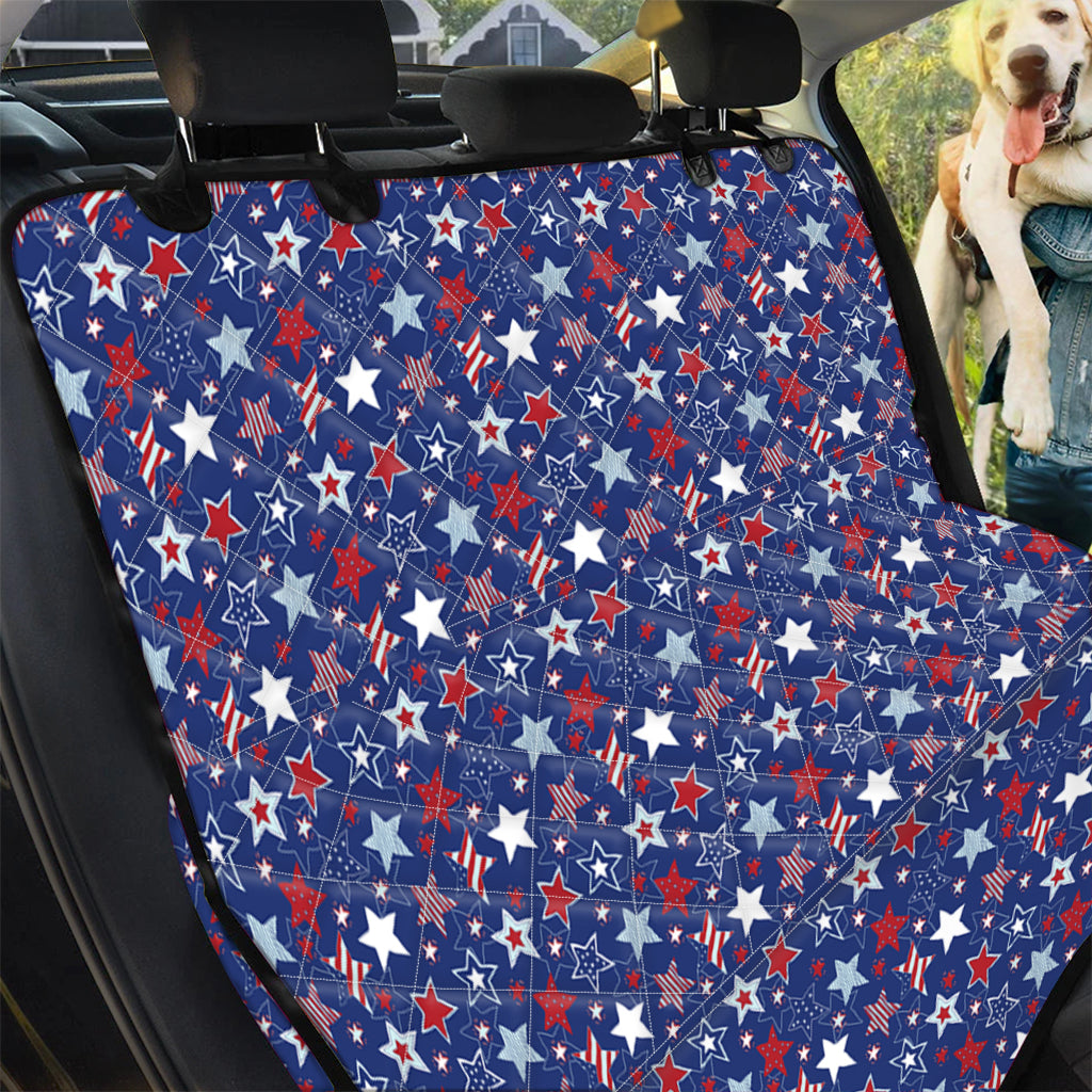 4th of July American Star Pattern Print Pet Car Back Seat Cover