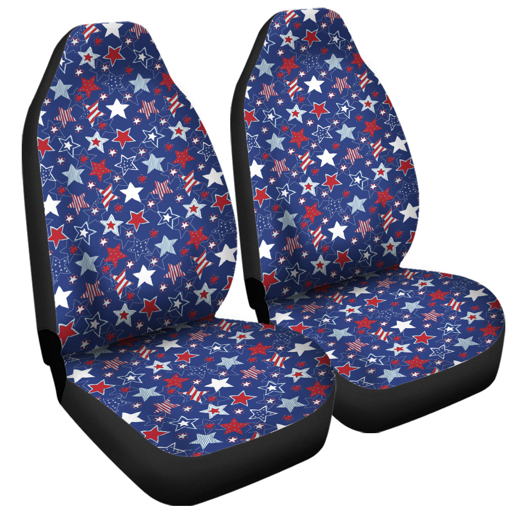 4th of July American Star Pattern Print Universal Fit Car Seat Covers
