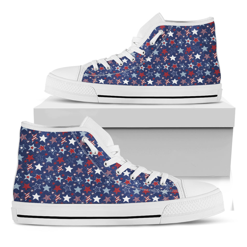 4th of July American Star Pattern Print White High Top Shoes