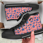 4th of July USA Flag Pattern Print Black High Top Shoes