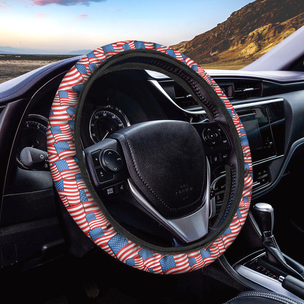 4th of July USA Flag Pattern Print Car Steering Wheel Cover
